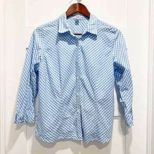 Izod Petite Blue White Gingham Check 3/4 Sleeve